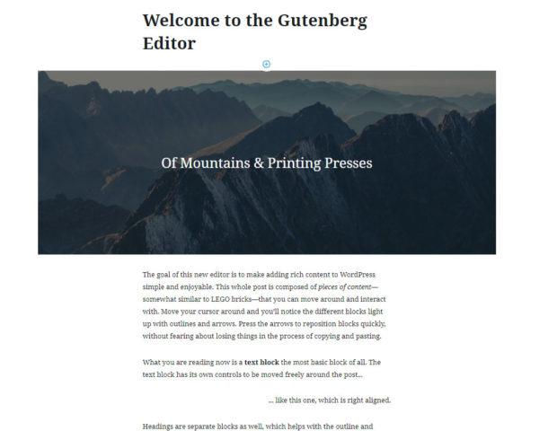 Gutenberg Welcome Screen