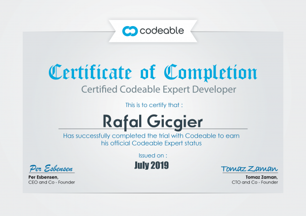 Rafał Giciger, Certified Codeable Expert Developer
