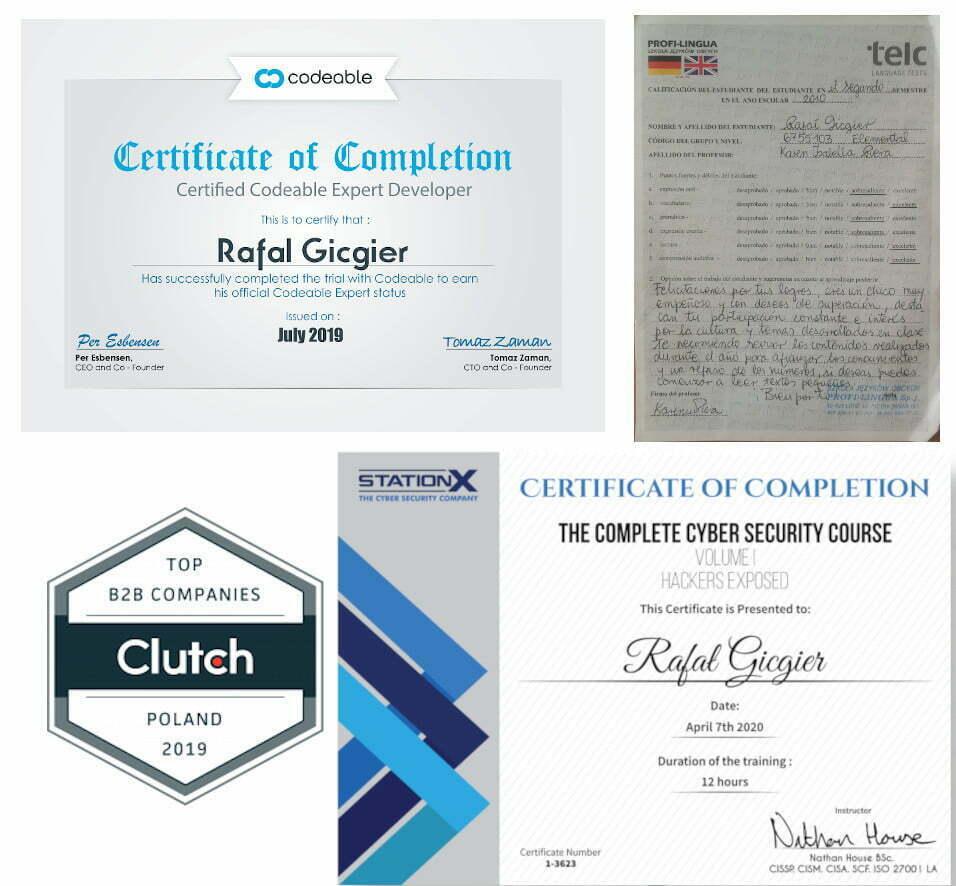 Rafal Gicgier Certificates